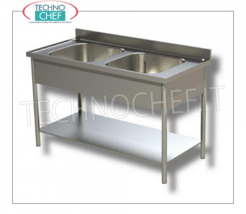 Lavello Inox Professionale Industriale 2 Vasche Senza Gocciolatoio Linea 600 Arredo Inox 304 Professionale Technochef It