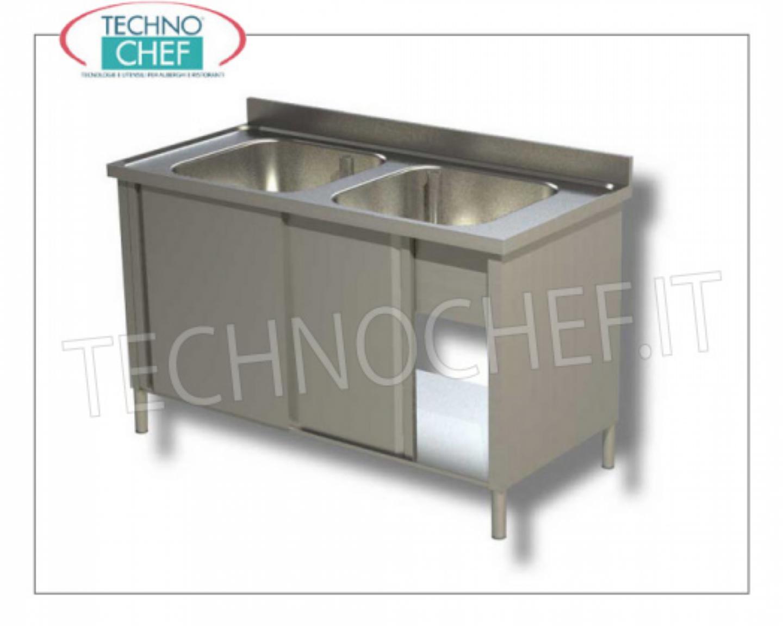 Lavello Cucina 2 Vasche Senza Gocciolatoio.Lavello Inox Professionale Industriale 2 Vasche Senza
