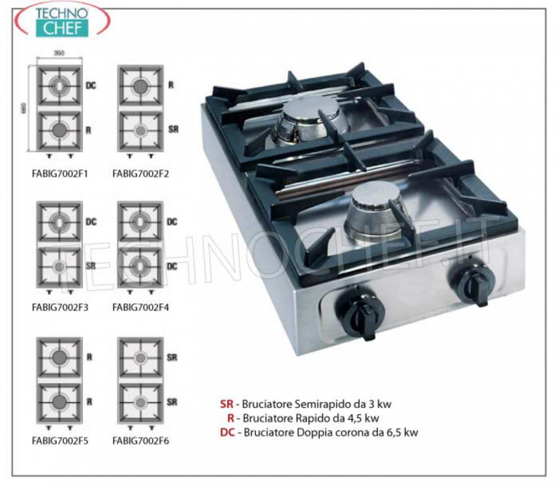 Fornello gas professionale da tavolo 2 fuochi - Fornelli da tavolo gas ...