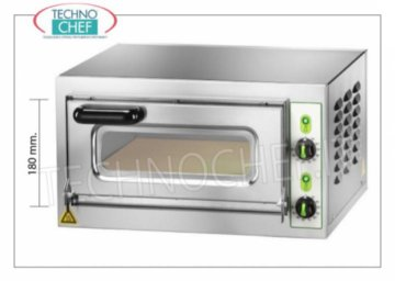 Technochef - 1 chamber electric pizza oven, mod. MICROVC18 ELECTRIC PIZZA OVEN with 1 CAMERA mm.405x405x180h, version with GLASS DOOR, hob in the refrigerator, 2 ADJUSTABLE THERMOSTATS for SOLE and SKY, temperature from + 50 ° to +500 ° C, V.230 / 1, Kw.2 , 2, Weight Kg.29, outside dimensions mm.550x460x360h