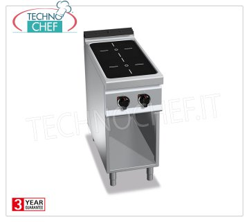 TECHNOCHEF - CUCINA ELETTRICA 2 ZONE ad INDUZIONE su VANO a GIORNO, mod. E9P2M/IND CUCINA ELETTRICA 2 ZONE ad INDUZIONE su VANO a GIORNO, BERTOS  Linea MAXIMA 900, Serie POWER INDUCTION, con 2 ZONE QUADRE da mm 270x270, COMANDI INDIPENDENTI, 9 livelli di potenza, V.400/3+N, Kw.10,00, Peso 55 Kg, dim.mm.400x900x900h