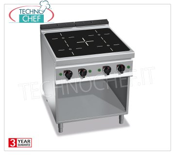 TECHNOCHEF - CUCINA ELETTRICA 4 ZONE ad INDUZIONE su VANO a GIORNO, mod. E9P4M/IND CUCINA ELETTRICA 4 ZONE ad INDUZIONE su VANO a GIORNO, BERTOS Linea MAXIMA 900, Serie POWER INDUCTION, con 4 ZONE QUADRE da mm 270x270, COMANDI INDIPENDENTI, 9 livelli di potenza, V.400/3+N, Kw.20,00, Peso 85 Kg, dim.mm.800x900x900h