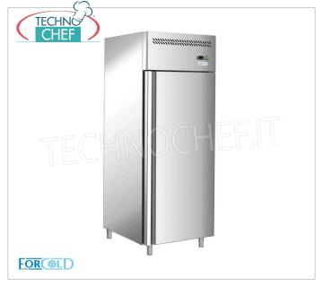 Frigor cabinet 1 Door, 650 lt, temp.-2 ° + 8 ° C. Frigor cabinet 1 door, FORCOLD, BASIC PROFESSIONAL line, 650 liters, temp. -2 ° + 8 ° C, ventilated, Gastro-norm 2/1, V 230/1, kW 0,59, dim. mm 740x830x2010h.