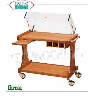 Carrelli per dolci e formaggi in legno Carrello per dolci, formaggi e antipasti in legno color NOCE, marca FORCAR, completo di cupola sollevabile in plexiglass, optional disponibili: pianetto reggipiatto, cassetto portaposate ecc.., dim.mm.860x550x950h