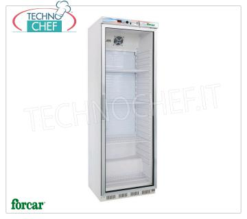 Frigor cabinets 1 GLASS DOOR, white, 350 lt, Temp + 2 ° 8 °, Frigor cabinet with 1 glass door, FORCAR brand, with external structure in white plate, ABS interior, capacity 350 liters, temperature + 2 ° / + 8 ° C, static refrigeration with internal fan, V.230 / 1, Kw.0,185 , Weight 69 Kg, dim.mm.600x585x1855h