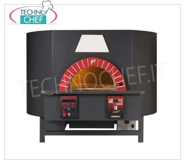 FORNO COMBINATO GAS/LEGNA per PIZZA, Serie ROTATIVO, PIANO ROTANTE da mm 1200x1200 FORNO COMBINATO GAS/LEGNA per PIZZA, Serie ROTATIVO, piano rotante in COTTO REFRATTARIO da mm 1200x1200, capacità 9 pizze Ø 32 cm, completo di base di supporto, V.230/1, Kw 0,3, Peso 1650 Kg, dimensioni esterne mm.1800x2020