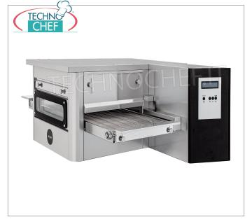 Electric tunnel pizza oven with 400mm wide tape for 20 pizzas / hour max Electric tunnel pizza oven with 400mm wide stainless steel mesh, ventilated cooking, yield 20 pizzas / hour max, V 400/3 + N, Gross weight 78 Kg, Net weight 101 Kg, 7.8 Kw, dim. mm. 1200x1440x530h