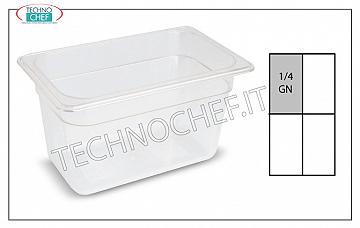 Bacinelle Gastronorm GN 1/4 in polipropilene Contenitore gastro-norm 1/4, in polipropilene, dim.mm.265 x 162 x 65 h