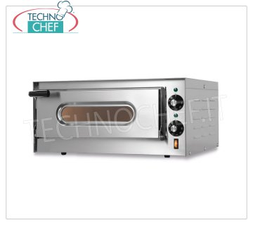 TECHNOCHEF - Forno Elettrico per pizza, 1 camera,  Mod.SMALL G Forno pizza elettrico per 1 PIZZA diametro 330 mm, 1 CAMERA da mm 410x360x110h con piano in refrattario, V 230/1 , Kw 1,6, dimensioni esterne mm 550x430x255h
